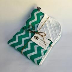 Mint Chevron/Cot/Pram Minky Blanket