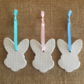 3 x CLAY EASTER DECORATIONS GIFT  EMBOSSED BUNNY RABBIT EGG