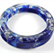 Resin Bangle - Offset Oval Shape - Blue with Silver Sparkles