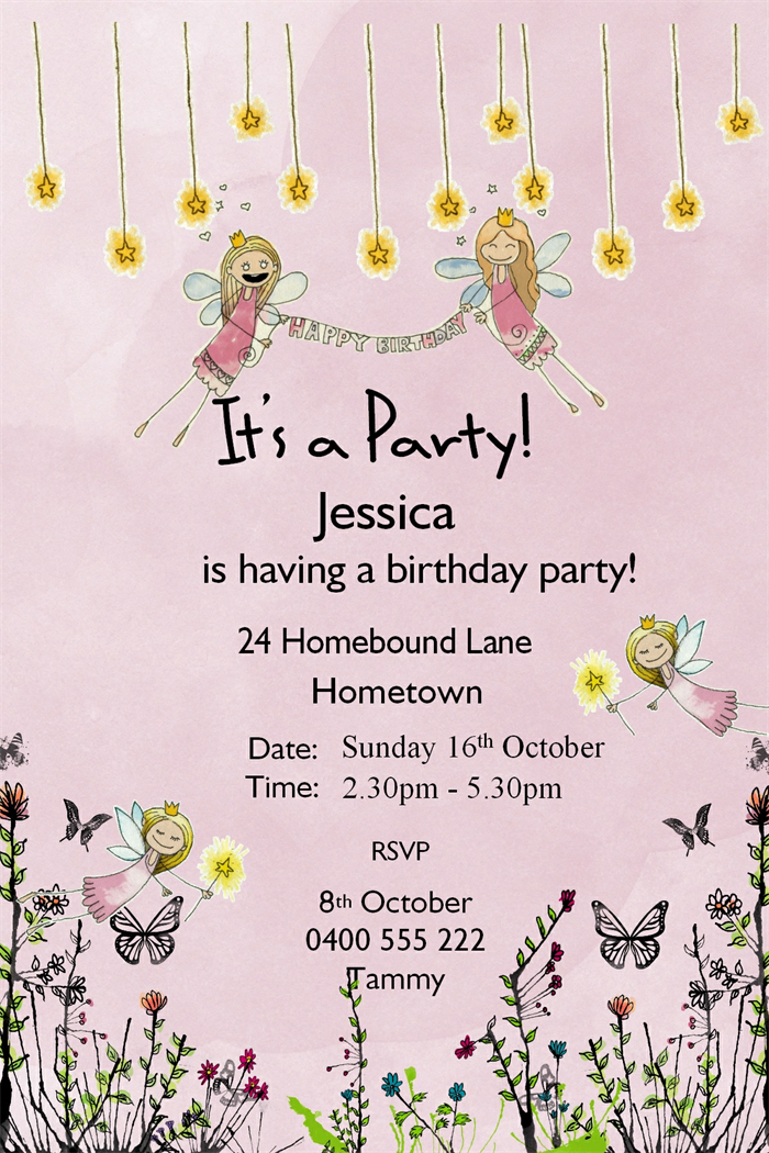 fairy garden party birthday invitation printable