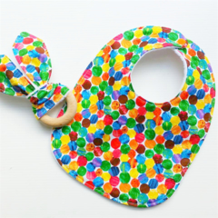 Hungry Caterpillar inspired baby bib and teether teething ring gift set