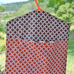 "Fabric Peg Bag - Brown and Orange Chevrons & ""Os"""