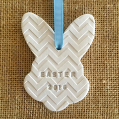 CLAY PERSONALISED BUNNY RABBIT EGG DECORATIONS EASTER GIFT  EMBOSSED