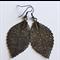 Gun Metal Laser Cut Skeleton Leaf~  Drop Earrings