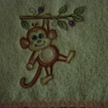 Babies Embroidered Towelling Bibs-Rippled Monkey