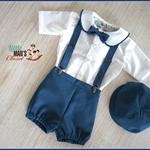 Boys Molten Blue Peter Pan Vintage Boys Newsboy Set - 5 piece - bow tie, suspend