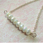 Luna - Mother of Pearl Crystal Rondelle and Silver Plated Chain Bar Necklace