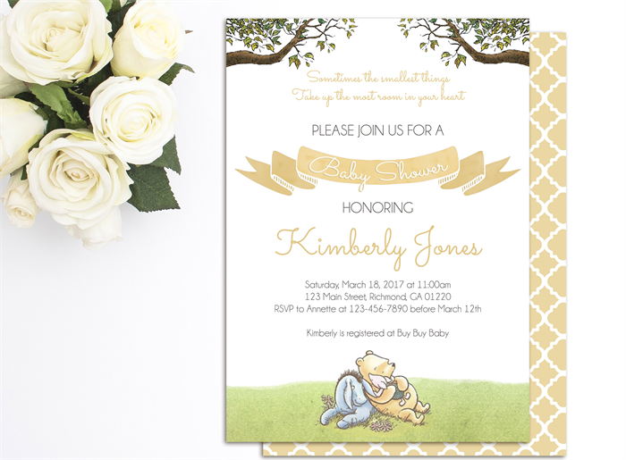 winnie the pooh baby shower invite printable invitation baby shower