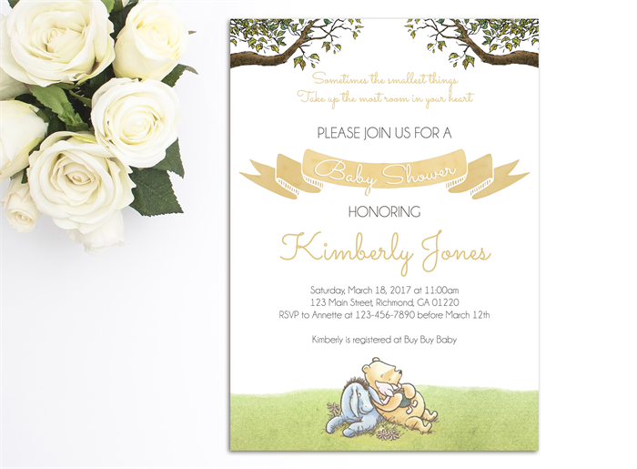 photograph relating to Printable Winnie the Pooh Baby Shower Invitations called Clic Winnie the Pooh Little one Shower Invite, Printable