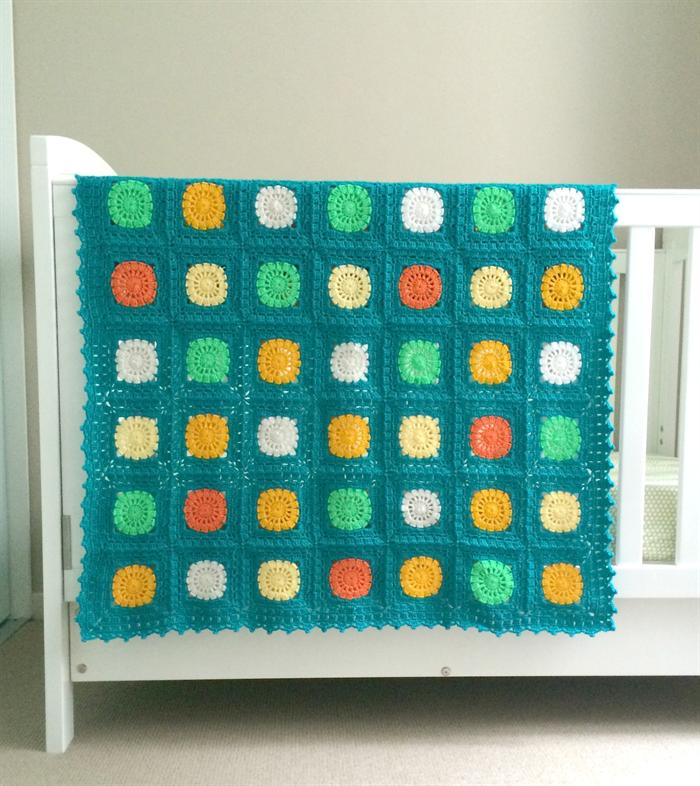 Crochet blanket emerald green with orange and yellow - Emerald green throw blanket ...