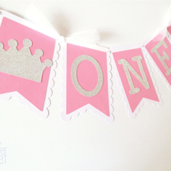 Pink Crown ONE Banner/Garland. Princess, silver crown, first birthday party.