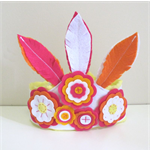 Girls Dress Up Crown, Felt Feathers and Flowers