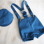 Handmade Boys vintage 3 piece set suspenders, newsboy hat  - Blue