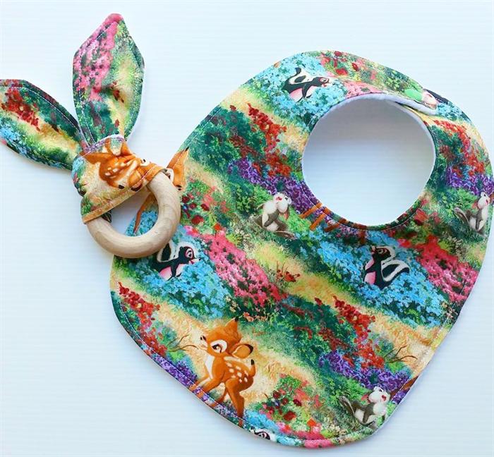 bambi deer inspired baby bib and teether teething ring marjo