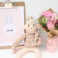 'April' the Sock Monkey - latte, cream and peach - *READY TO POST*
