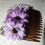 Flower of Power.. trio purple mauve daisy flowers hair slide comb grey feathers