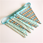 Fabric bunting flags, Nursery decor, teal , grey 