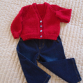 SIZE 3-4 yrs - cardigan, Red & multi colour: acrylic, washable, unsex, warm