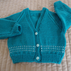 SIZE 2 yrs -cardigan in aqua green: Acrylic, Unisex, Washable