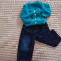 SIZE 2 yrs -cardigan in aqua green: Acrylic, Unisex, Washable