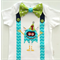 1st Birthday Monster Theme Onesie Boys Bow Tie and Suspenders