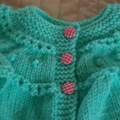 SIZE 1-2 years - knitted cardigan in mint green:  girl, easy care, washable