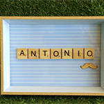 Handmade Personalised Wooden Scrabble Frame (medium)