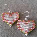 Flower in Heart Beaded Earrings