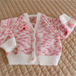 Size 0 - 6 months: Baby cardigan in Pink & White: girl, washable, easy care