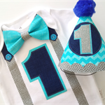 Baby Boys Bright Aqua , Grey and Navy 1st Birthday Onesie and Party Hat.