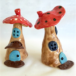Pottery Mushroom Fairy House. Garden Art. Adults and Children's Decor