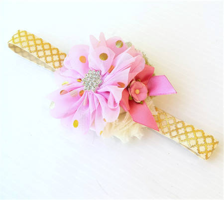 Pink and Gold Baby Headband Girls Headband Flower Girl Photo Prop