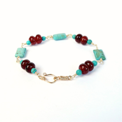 Caramel Carnelian, Turquoise and Gold Bracelet