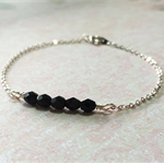 Jet Black and Silver Plated Chain Stacking Bracelet