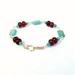 Caramel Carnelian, Turquoise and Gold Bracelet