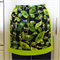 Half Apron Green and Black - women's retro lined apron - green tree frogs print