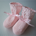 Pink Hand Knitted Bootees