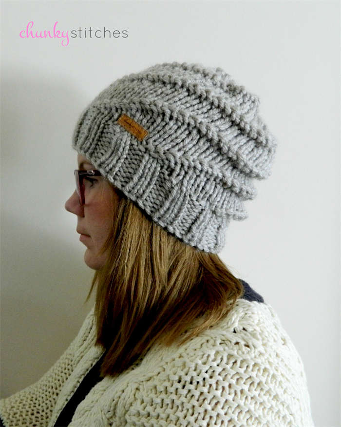 Super Chunky Spiral Knit Slouchy Beanie Adult In Oatmeal Ready To