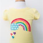 T-shirt - Retro Rainbow - Yellow - Bright - Heart