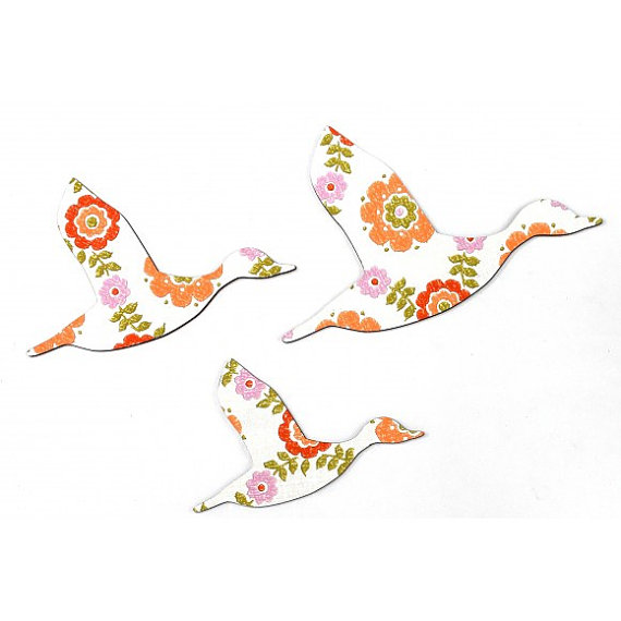 Orange, Green and Pink Flying Ducks - Eco Plywood and Retro Wall Art ...
