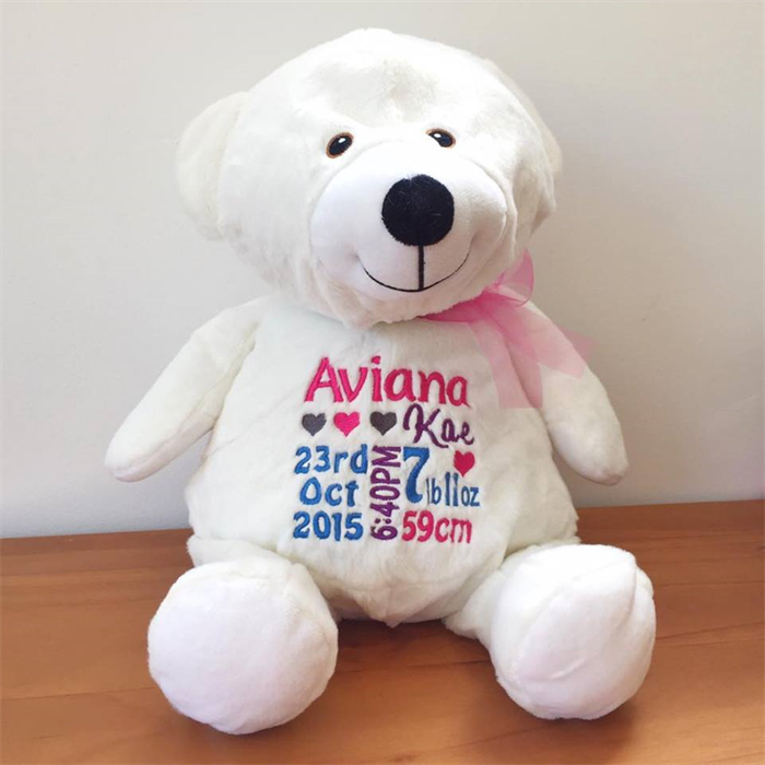 Australia personalised baby gifts gift ideas personalised teddy baby announcement baby gift personalised baby teddy bear negle Image collections
