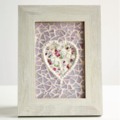 POSTAGE INCLUDED Timber framed Mosaic with heart floral feature