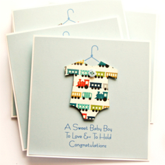 Personalised Baby Boy Card | Trains | Newborn Grandson Grandchild