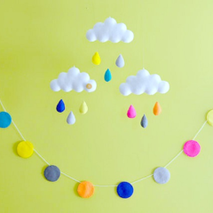 Colourful mobile & garland set