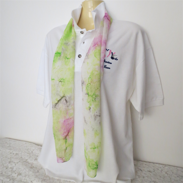 Silk Scarves Gumtree: Hand Painted Silk Scarf - Lime, Hot Pink And Black