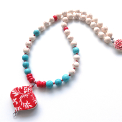 Heart  pendant turquoise blue + red necklace