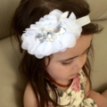 White flowers chiffon stretch headband