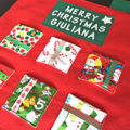 Festive themed fabric Christmas Advent Calendar with personalised name.