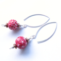 Red and White Flower Hand made silver Earrings