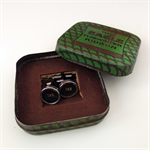 Typewriter-key cufflinks in a vintage Art Deco 'Eagle' tin - black 'TAB' keys